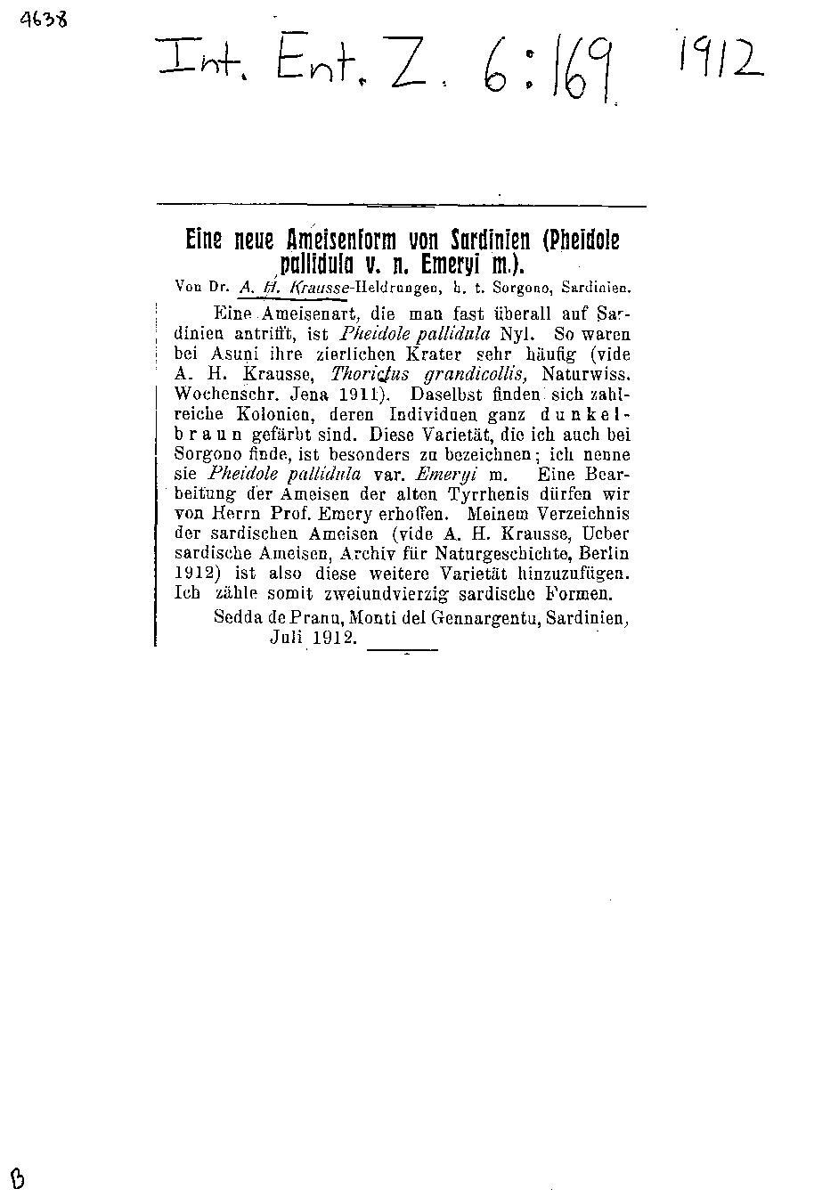 A. H. Krausse-Heldrungen - Eine neue Ameisenform von Sardinien (Pheidole pallidula v. n. emeryi m.).