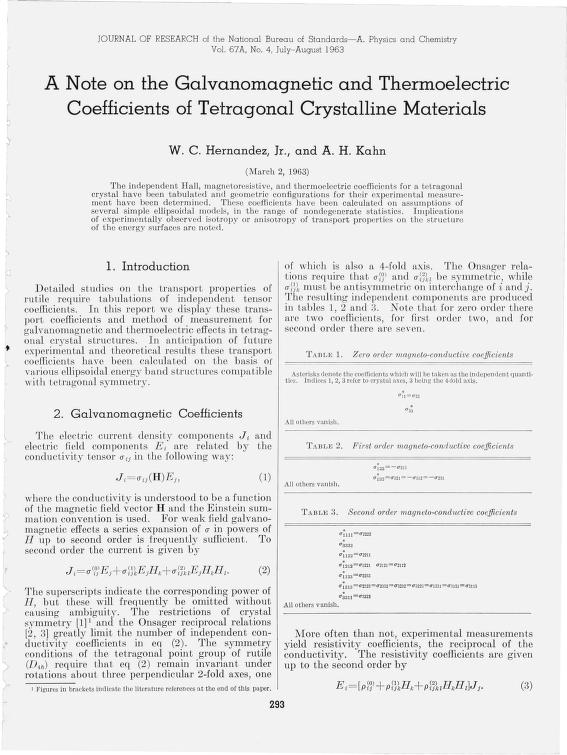 W.C. Hernandez - A note on the galvanomagnetic and thermoelectric coefficients of tetragonal crystalline materials