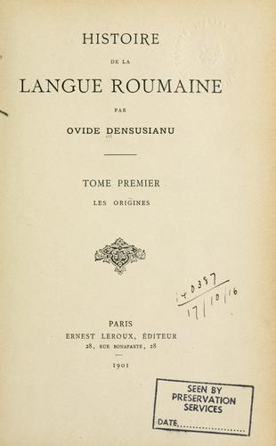 Histoire de la langue roumaine.