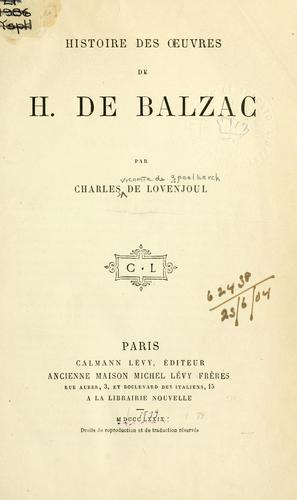 Download Histoire des oeuvres de H. de Balzac