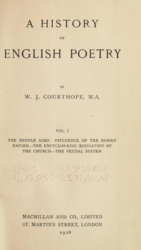 A history of English poetry