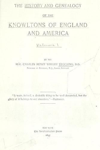 The history and genealogy of the Knowltons of England and America by Charles Henry Wright Stocking