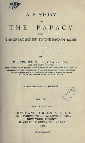 A history of the Papacy from the Great Schism to the sack of Rome.