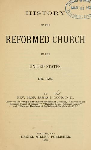 History of the Reformed Church in the United States, 1725-1792.