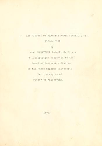 Download The history of Japanese paper currency (1868-1890)