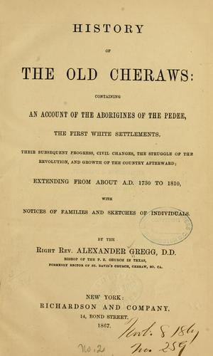 Download History of the old Cheraws