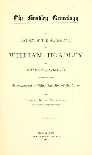 The Hoadley genealogy