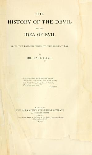 Download The history of the devil and the idea of evil
