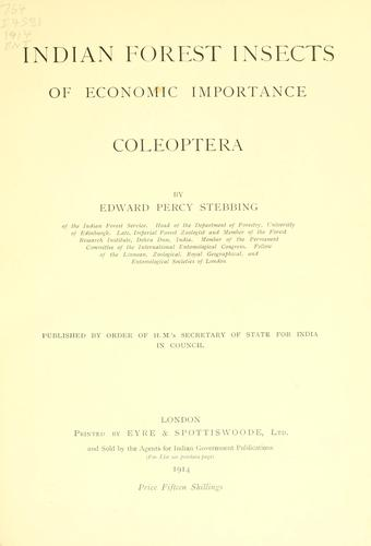 Download Indian forest insects of economic importance.