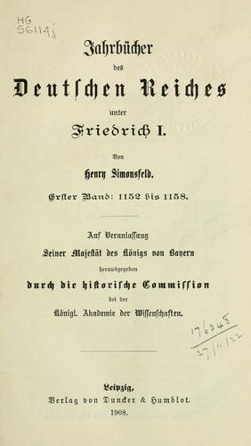 Download Jahrbücher des Deutschen Reiches unter Friedrich I.