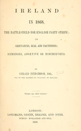 Download Ireland in 1868, the battle-field for English party strife