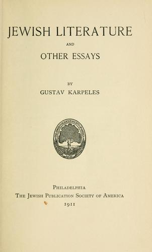 Jewish literature, and other essays