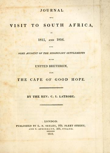 Download Journal of a visit to South Africa, in 1815, and 1816.