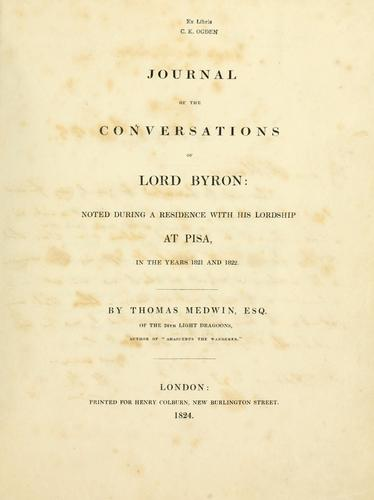 Download Journal of the conversations of Lord Byron