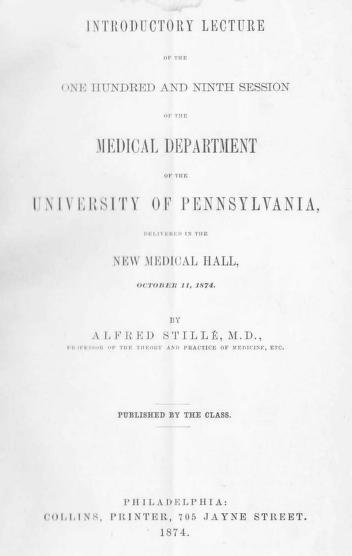 Introductory Lecture of the One Hundred and Ninth Session of the Medical Department of the University of Pennsylvania by