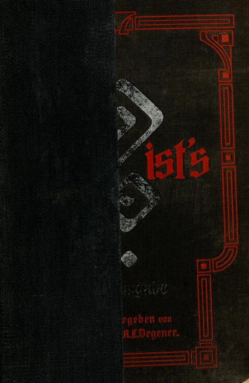 Wer ist's? by Herrmann A. L. Degener