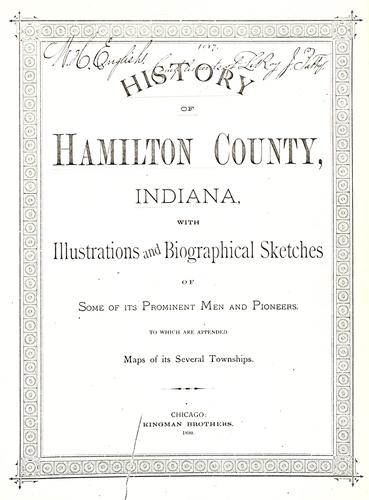 History of Hamilton County, Indiana by Thomas B. Helm